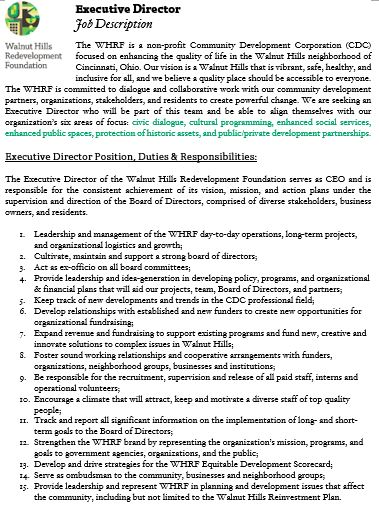 Thank You For Applying For The Position Of Executive Director At The Walnut  Hills Redevelopment Foundation. Please See The Attached Job Description  (left) ...